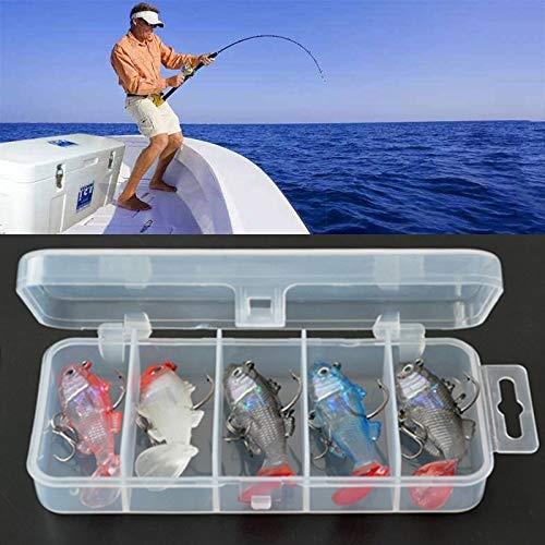 Équipement de pêche Les appâts artificiels de pêche de 5 PCS leurres Les Crochets aigus appâts fixés avec la Caisse en Plastique 6cm / 8.5g engins de pêche d'eau salée