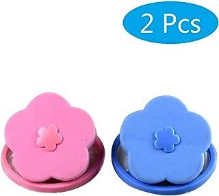 LaZimnInc Washing Machine Floating Lint 2 Pcs, Reusable Flower-Type Washing Machine Filter Mesh Bag Hair Filter Net Pouch (Blue + Pink)