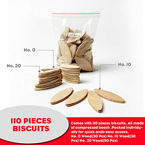 AOBEN 8.5 Amp Biscuit Cutter Plate Joiner With No. 0 Wood(30 Pcs) No. 10 Wood(30 Pcs) No. 20 Wood(50 Pcs), 4