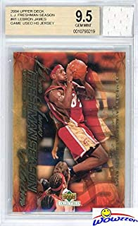 2003/04 Upper Deck Freshman Season #41 Lebron James Rookie Card with Piece of Authentic Lebron James Game Used High School Jersey Graded BGS 9.5 Gem Mint! Amazing SUPER HIGH GRADE GGUM Card! WOWZZER!