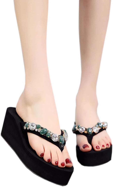 Flip Flops Slim Strap Rhinestone Decor Women Open Toe Beach Muffin Slope Wedge Heels Sandals Slide Platform Thongs