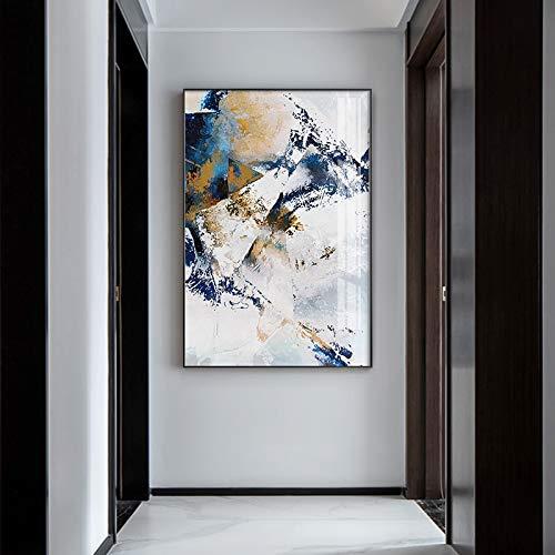 Pintura de figura geométrica artística de pasillo con impresión dorada, cuadros artísticos de pared, arte de pared para la decoración del hogar de la sala de estar 60x90 CM (sin marco)