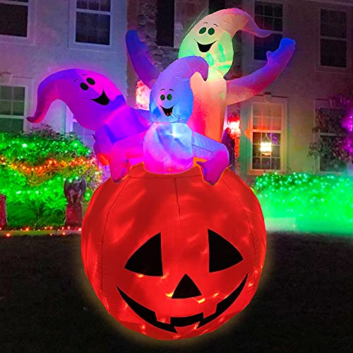 BESTPARTY 6ft Inflatable Halloween Three White Ghost with Pumpkin Decoration LED Blow Up Lighted Decor Indoor Outdoor Holiday Home Party