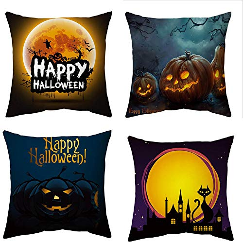 YEARGER Optional Halloween Pillow Covers 18×18 Inch Set of 4 Trick or Treat Witches Pillow Covers Cotton Linen Cushion Covers Halloween Decorations Throw Pillow Covers,C