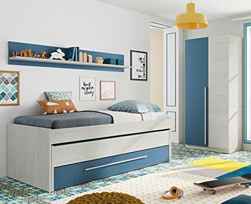 Miroytengo Pack Dormitorio Juvenil Infantil Color Azul y Blanco (Cama Nido + Armario + estantería) SOMIERES INCLUIDOS