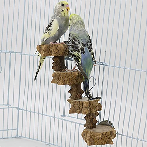 Luonfels Bird Platform Perch Playground for Budgie Parakeet, Cage Natural Wood Play Stand Parrot Flat Perches for Large Birds, Birdcage Ladder Climbing Toy 4 Step