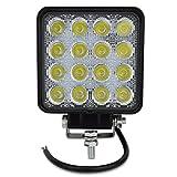 Safego 48W LED 作業灯ワークライト 広角タイプ 16連LED 車外灯 農業機械 ホワイト 6000K 12V-24V対応 1個入