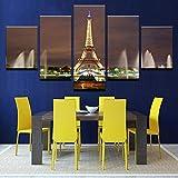 TOPRUN Cuadro Moderno En Lienzo 5 Piezas XXL Torre Eiffel Fuente Trocadero Paisaje París HD Abstracta Pared Imágenes Modulares Sala De Estar Dormitorios Decoración para El Hogar 150X80Cm