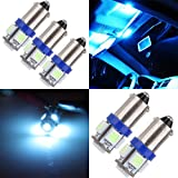 cciyu 5 Pcs T11 BA9S 5-5050-SMD LED Ice Blue Light Bulb Car 12V Lamp T4W 3886X H6W 363