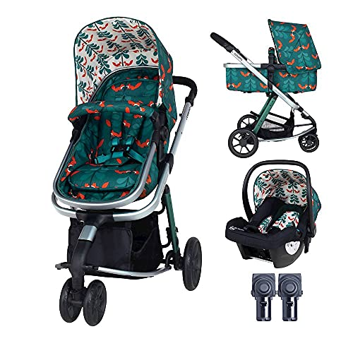 Cosatto Giggle Pram, Pushchair & Baby Car Seat 2 in 1 Bundle – from Birth to 18Kg, Lightweight Travel System, Fox Friends