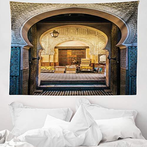 ABAKUHAUS Marroquí Tapiz de Pared y Cubrecama Suave, Típica Puerta Marroquí hacia Vieja Medina Mediterránea Arco Histórico Entrada Foto, Material Resistente, 150 x 110 cm, Beige