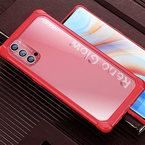 Adecuado para OPPO reno4 funda de teléfono móvil airbag pro funda protectora findx2/X2Pro ultra delgada transparente anti-drop-red_RENO4 Pro