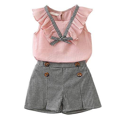 Bébé Filles Mousseline Gilet Dessus Pantalon À Carreaux Chaud 2 Pièces Costume Vêtements D'Été Ensembles