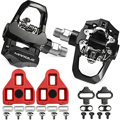 """MARQUE Duo Spin Bike Pedals – Indoor Cycling Clipless Pedals Compatible with Peloton Look Delta and SPD Cleats, Heavy Duty Durable 9/16"""" Thread for Stationary Exercise Fitness Bike"""