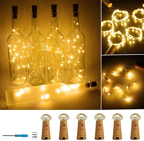 Wine Bottle Lights with Cork 20 LED Copper Wire String Lights Pack of 6 Battery Operated Starry product image