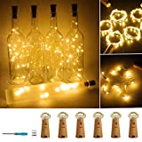 Wine Bottle Lights with Cork 20 LED Copper Wire String Lights, Pack of 6 Battery Operated Starry String Led Lights for Bottles DIY Christmas Wedding Party Decoration (Warm White)