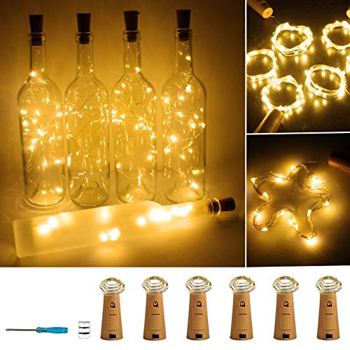 Wine Bottle Lights with Cork 20 LED Copper Wire String Lights, Pack of 6 Battery Operated Starry String Led Lights for Bottles DIY Christmas Wedding Party Decoration ( Warm White )