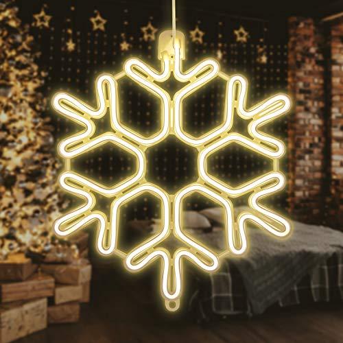 SALCAR Schneeflocke Neon LED Dekorative, 40cm Schnee LED dekorative Leuchte für Weihnachten, Leuchtreklame, Deko Lichter