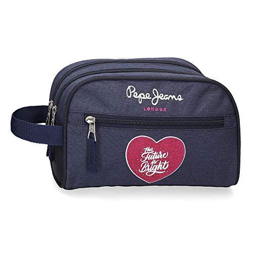 Pepe Jeans Bright Neceser Dos Compartimentos Azul 26x16x12 cms Poliéster