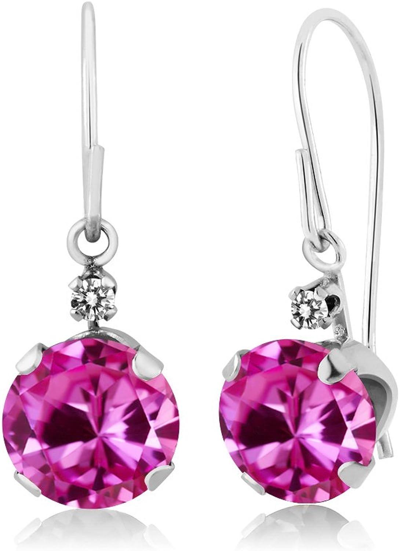 2.03 Ct Round Pink Created Sapphire White Diamond 14K White gold Earrings