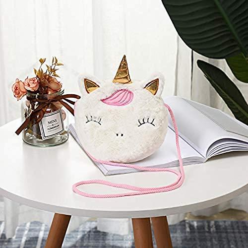 Ozsjrq Peluche de Juguete Lindo Mini Monedero Monedero Unicornio Felpa Monedero para niños pequeños Bolsa de Mensajero para niña, Color Blanco
