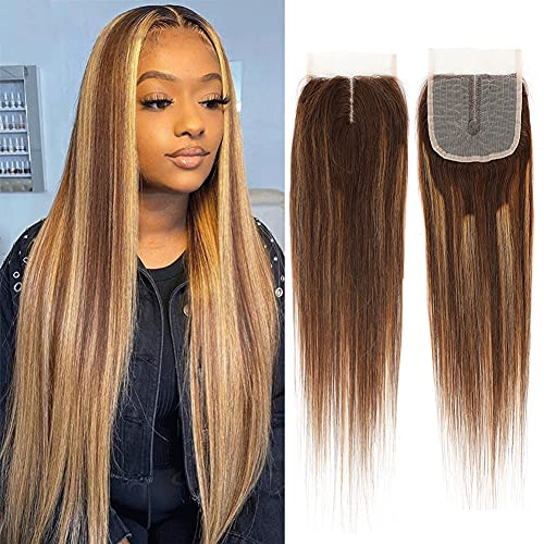 Brazilian Human Hair 4X4 Machine Made Lace Closure 130 Density Middle Part Ombre F4/27 Lace Closure Two Tone Lace Front Closure Light Brown Mix Blonde Straight Wave 4 By 4 Lace Closure 12 Inch