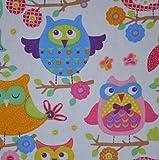 Textiles français Kinderstoff | Lustige Eulen | 100%