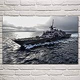 Art walluss freedom litoral barcos de combate militar paisaje marino obra de arte sala de estar decoración del hogar cartel de impresión de pared 40x60cm sin marco