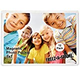 12 Pack 5 x 7 Magnetic Picture Frames Pockets Sleeves Holds 5 x 7 Inches Photo for Refrige...