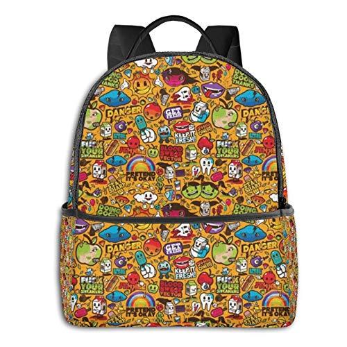IUBBKI StudentsCartoon Design 4 Laptop Backpack Waterproof Book Bags Multipurpose Laptop Backpack for Hiking Camping College School
