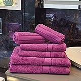Leaf Dew 100% Cotton 500 GSM Large Towels Set of 6 Piece for Men's & Women's - 2 Bath Towels, 2 Hand Towels & 2 Face Towels (Purple)
