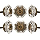Set of 6 Crystal Glass Knobs Kitchen Cabinet Cupboard...