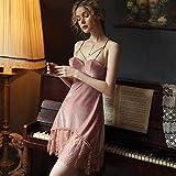 CIDCIJN Camisón De Pijama De Mujer - Sexy Tentación Terciopelo Camisón Mujer Encaje V-Cuello Camisón Tirantes Sin Espalda con Almohadilla De Pecho Pequeño Pecho, Rosa, M