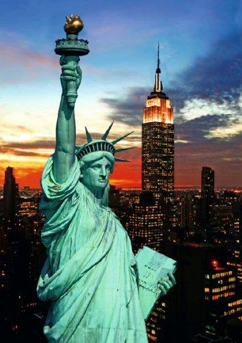 3D Postkarte 'Statue of Liberty & NYC skyline'