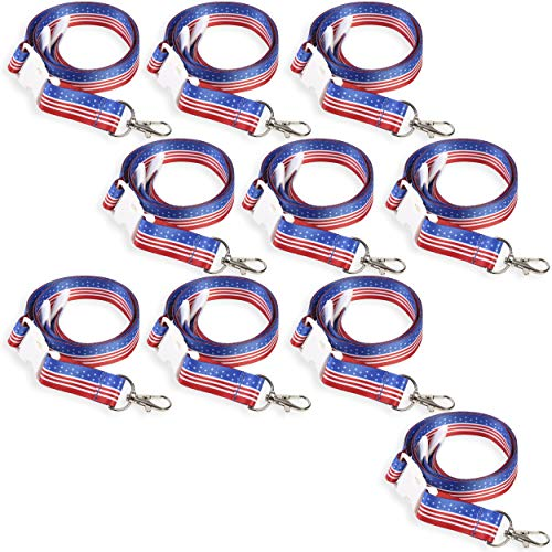 American Flag Lanyard for ID Badges and Keys (10 Pack)