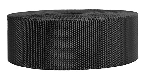 Strapworks Heavyweight Polypropylene Webbing - Heavy Duty Poly Strapping for Outdoor DIY Gear Repair, 2 Inch x 50 Yards - Black