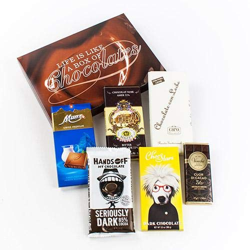 Chocolate Bars of the World in a Gift Box - Five different chocolate bars from around the world make up this collection, all nestled in an igourmet Signature Gift Box