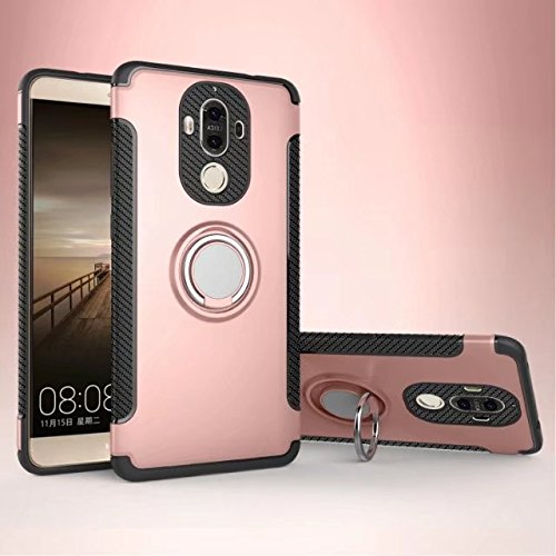 Yhuisen Armatura Dual Layer 2 in 1 Custodia Protettiva Antiurto Heavy Duty con 360 Gradi Girevole Supporto Anello Dito e Supporto Magnetico per Huawei Mate 9 (Color : Rose Gold)