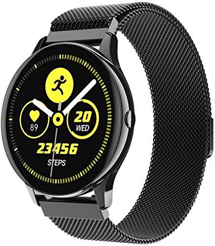 Reloj inteligente de pantalla grande de tacto completo, llamada Bluetooth, caja de metal de círculo completo, panel de vidrio, rastreador de fitness deportivo-acero negro
