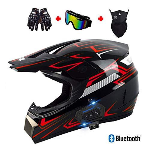 LEENY Motocross-Helme Bluetooth-Headset Fullface Crosshelme Set mit Handschuhe Maske Brille, Herren Damen Motorradhelm Motorrad-Offroad-Enduro-Downhill-Helm-ATV-MTB-BMX-Helm,Rot,M(54~55cm)