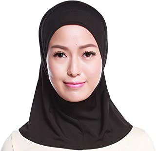 Womens Muslim Cotton Mini Hijab Head Scarf Solid Color Full Cover Inner Cap Islamic Arab Wrap Shawl Turban Hat