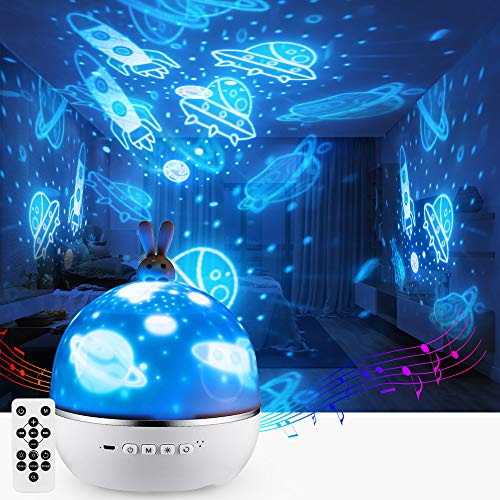 Star Night Light Lights Projector One Fire Nursery Baby Kids Bunny Lamp Timer Bluetooth Speaker Music Ceiling Skylight for Bedroom Rotating Starry Sky Skylite Space Party Decoration Valentine's Gift