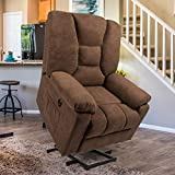 Esright Microfiber Power Lift Electric Recliner Chair with Heated Vibration Massage Sofa Fabric Living Room Chair with 2 Side Pockets, USB Charge Port & Massage Remote Control, Brown