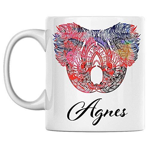 N\A Taza de Koala Personal con Nombre Agnes, Taza de café de cerámica Blanca Impresa en Ambos Lados, cumpleaños para él, Ella, niño, niña, Esposo, Esposa, Hombres y Mujeres