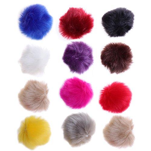 ULTNICE Faux Pelliccia Fluffy Ball Artigianato Decorazioni per Cappelli Scarpe Sciarpe Sacchetti Charmes 12Pezzi