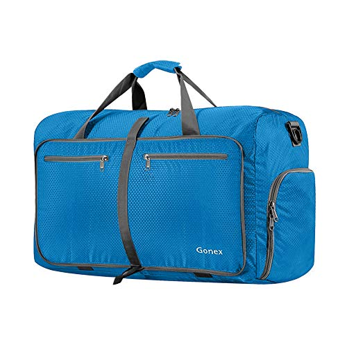 Gonex 40L Foldable Sport Duffles Packable Carry On Travel Holdall Bag Light Blue
