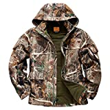 NEW VIEW Hunting Clothes for Men,2020 Upgrade Thickened Silent Water Resistant Hunting Jackets,Camo Hooded Jacket (Plus Thickened, S)