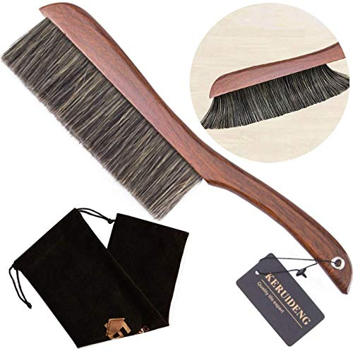 KERUIDENG Hand Broom-Soft Bristles Dusting Brush- Dusters for Cleaning Home Furniture Hotel Office Car, Long Wood Handle,15