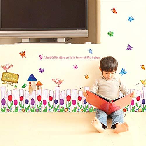 PISKLIU Muursticker, verwijderbaar, tulpe, vlinder, Flying Baseboard, vinyl, muursticker, decoratie voor thuis, kinderen, sjaals, woonkamer, slaapkamer, muur