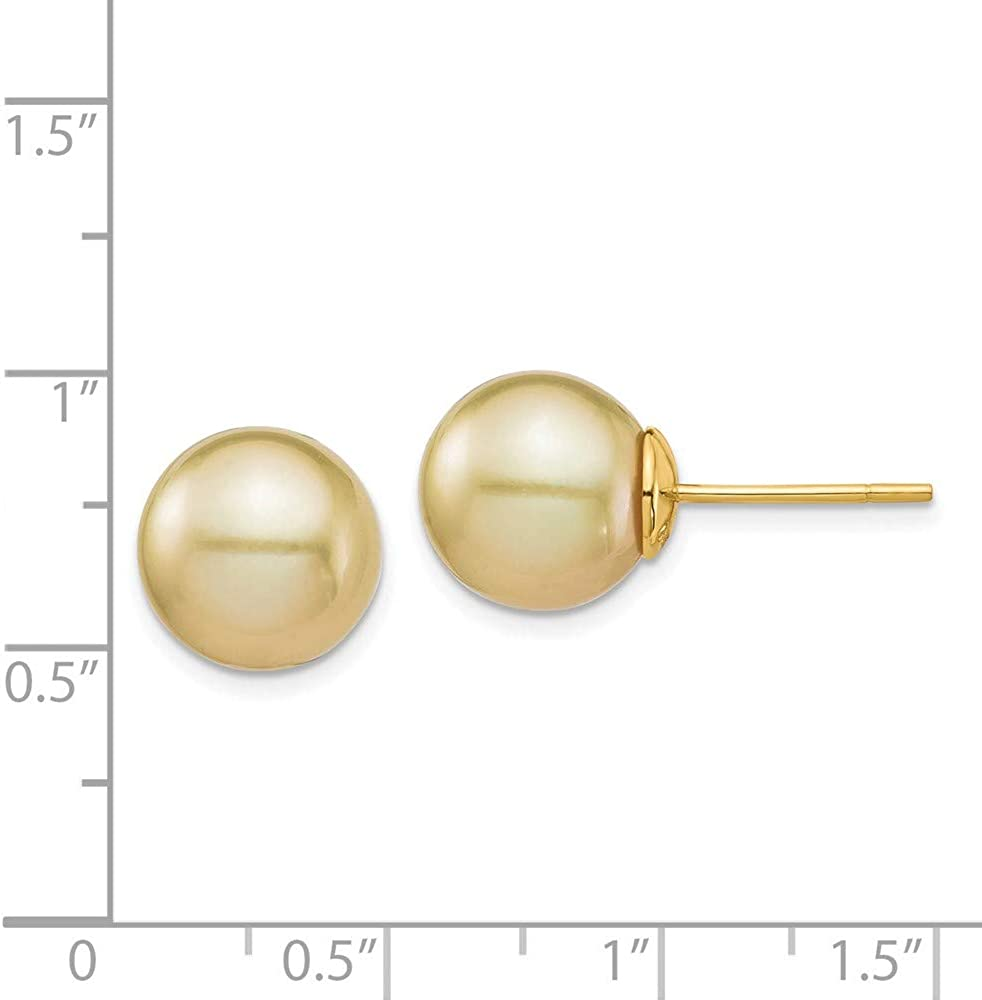 14k 11mm Golden Round Saltwater Cultured South Sea Pearl Post Stud Earrings Ball Button Fine Jewelry For Women Gifts For Her